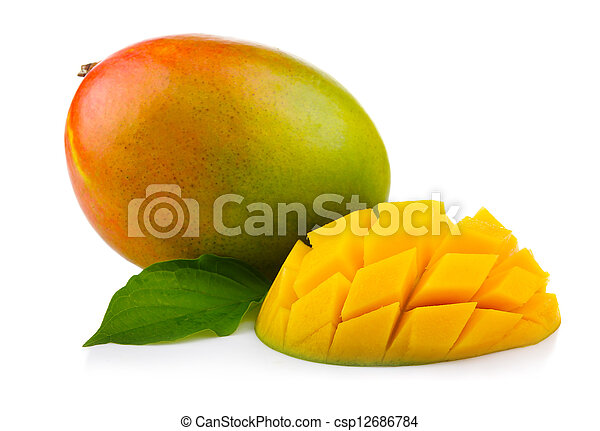 Fresh mango fruit with cut and green leafs isolated - csp12686784