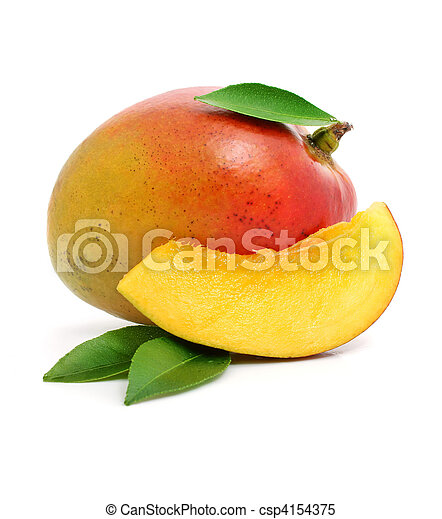 fresh mango fruit with cut and green leafs isolated - csp4154375