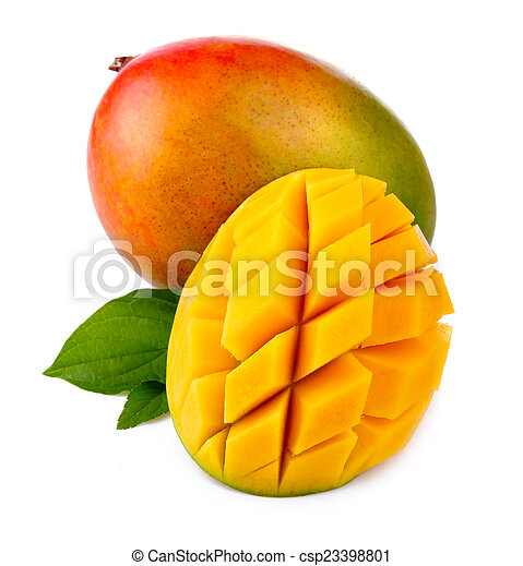 Fresh mango fruit with cut and green leafs isolated - csp23398801