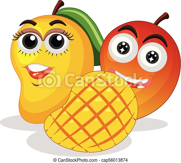Fresh mangoes with happy face - csp56013874