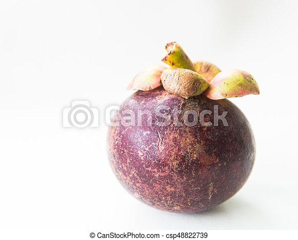 Fresh mangosteen on white background. - csp48822739