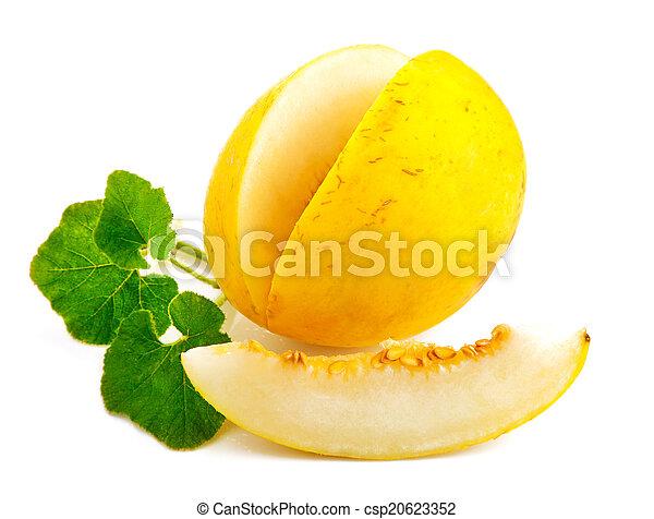 Fresh melon with green leaf - csp20623352