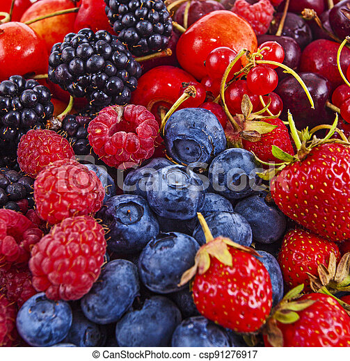 Fresh mixed summer berries - raspberry, strawberry, blueberry - csp91276917