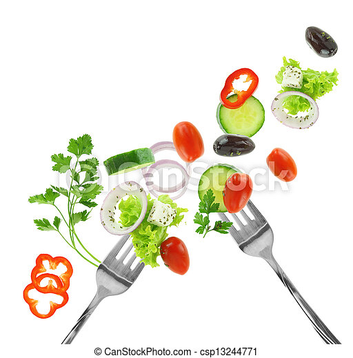Fresh mixed vegetables and silver forks isolated on white - csp13244771