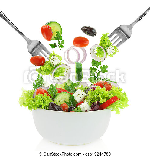 Fresh mixed vegetables falling into a bowl of salad  - csp13244780