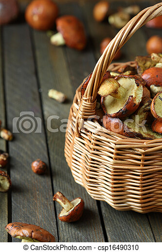 fresh mushrooms in a wicker basket - csp16490310