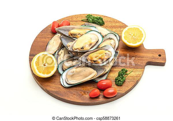 fresh mussel on white background - csp58873261