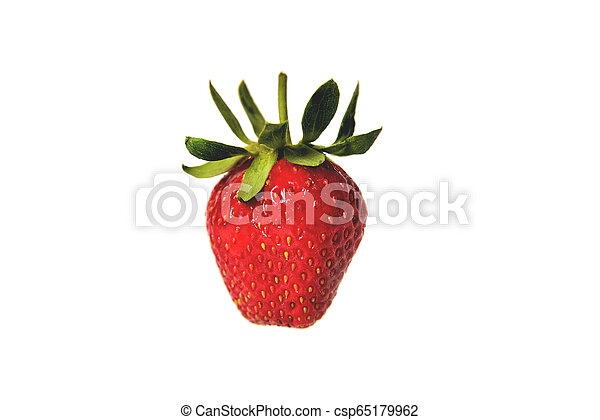 Fresh natural strawberry on white background, isolate, close-up - csp65179962
