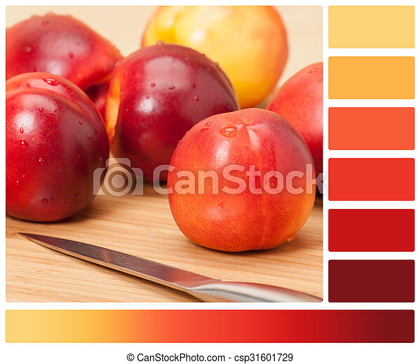 Fresh Nectarine Fruits On Wooden Board. Natural Linen Napkin. Palette With Complimentary Colour Swatches - csp31601729