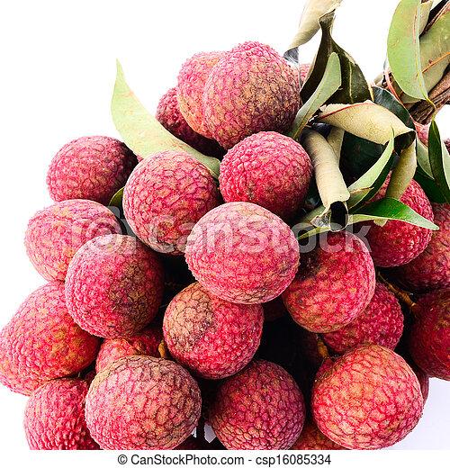 Fresh of litchi fruit isolated on white background - csp16085334