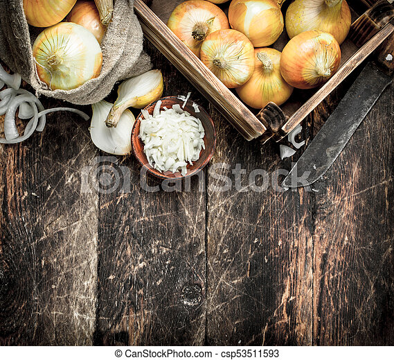 Fresh onion in a box and bag. - csp53511593