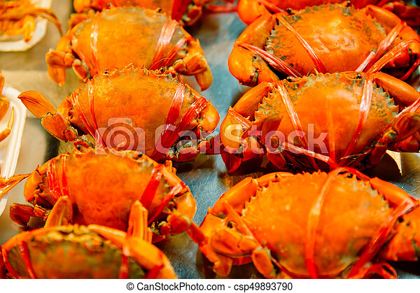 fresh orange crab sale at the seafood market for cooking food in restaurant