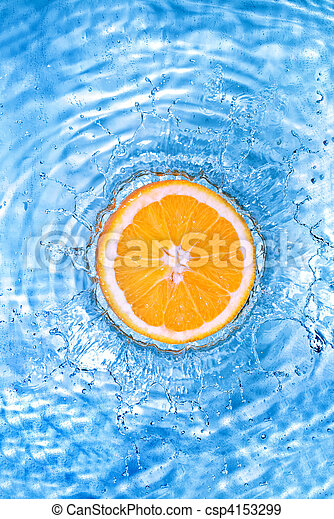Fresh orange dropped into water with bubbles isolated on white - csp4153299