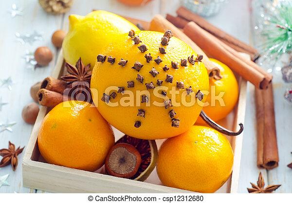 Fresh oranges and cinnamon for christmas - csp12312680