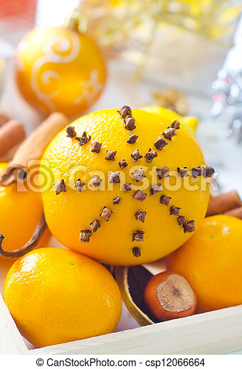 Fresh oranges and cinnamon for christmas - csp12066664