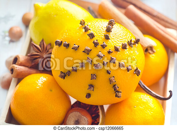 Fresh oranges and cinnamon for christmas - csp12066665
