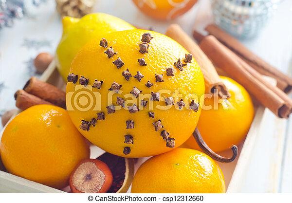 Fresh oranges and cinnamon for christmas - csp12312660