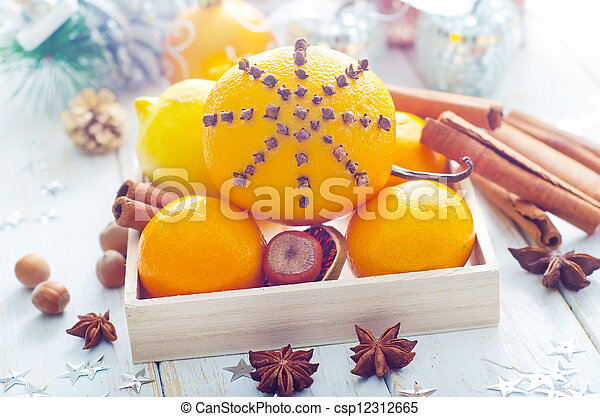 Fresh oranges and cinnamon for christmas - csp12312665