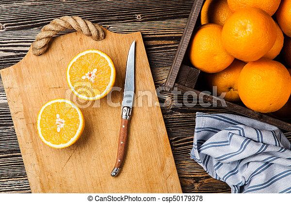 Fresh oranges in a crate - csp50179378
