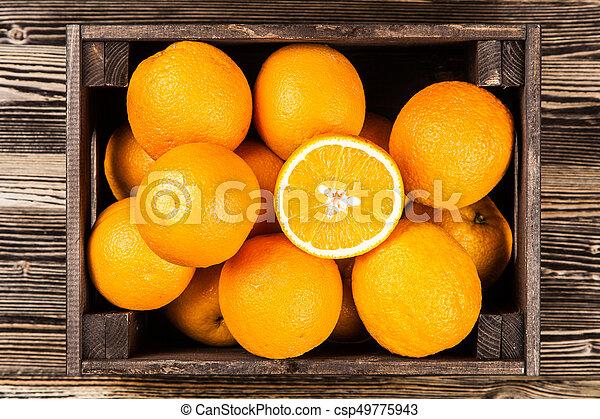 Fresh oranges in a crate - csp49775943