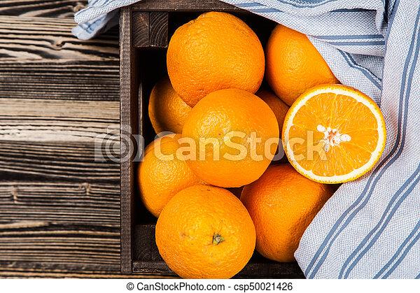 Fresh oranges in a crate - csp50021426