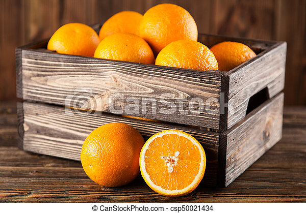 Fresh oranges in a crate - csp50021434