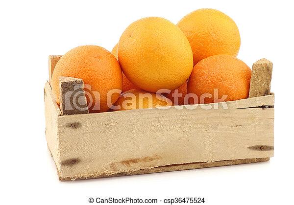 fresh oranges in a wooden crate - csp36475524