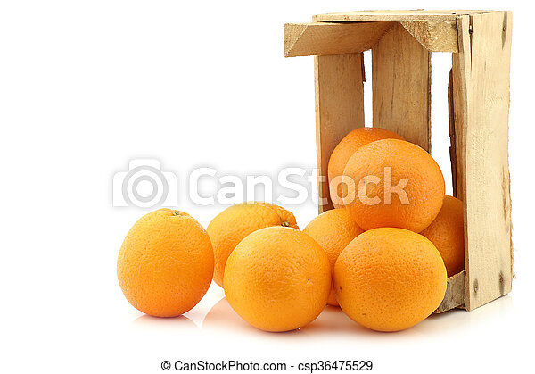 fresh oranges in a wooden crate - csp36475529