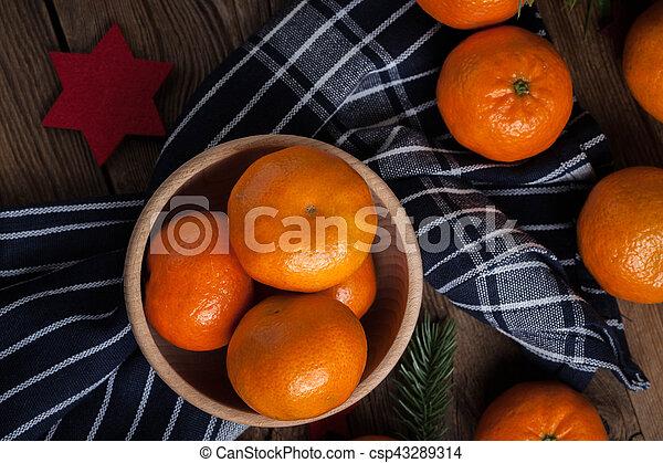 Fresh oranges in wooden bowl. - csp43289314