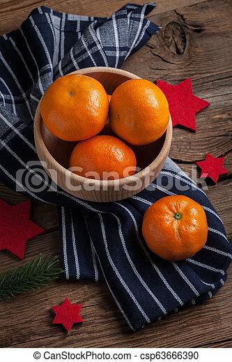 Fresh oranges in wooden bowl. - csp63666390