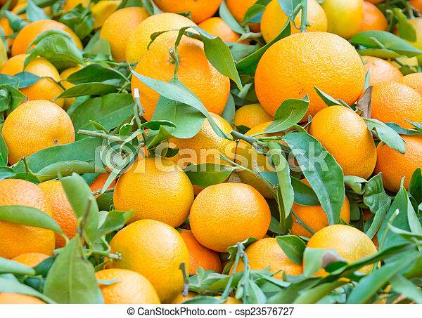 Fresh oranges with leaves - csp23576727