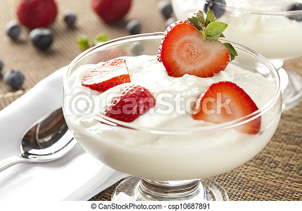 Fresh Organic Greek Yogurt with strawberries - csp10687891