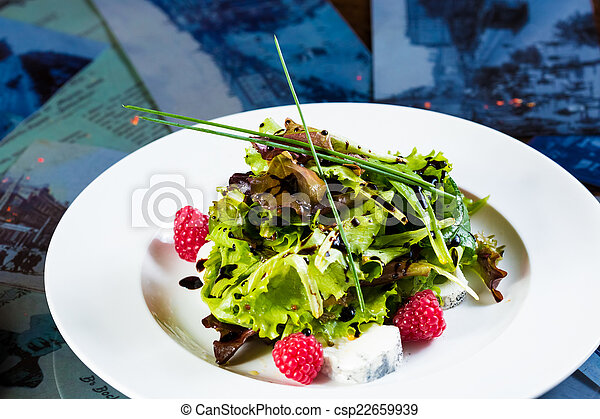 Fresh organic vegetable salad with cheese. - csp22659939