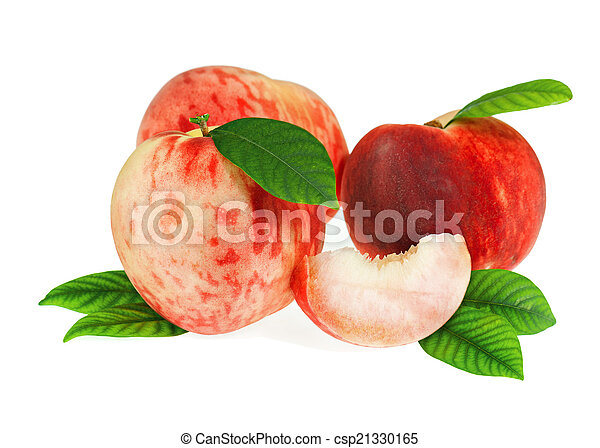 Fresh peach fruits with cut and green leaves isolated. - csp21330165