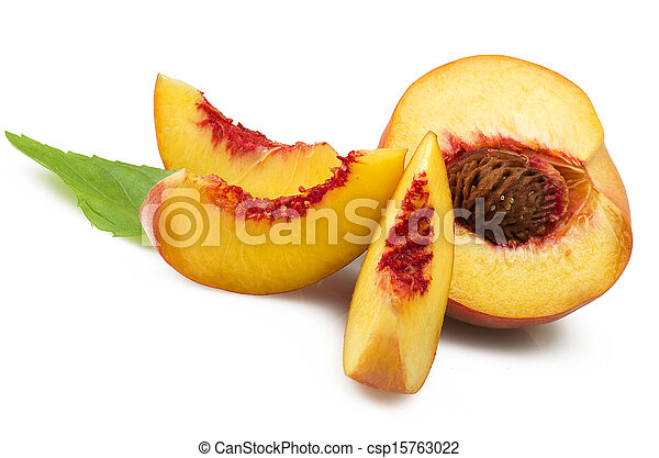 Fresh peach fruits with cut and green leaves on white background - csp15763022