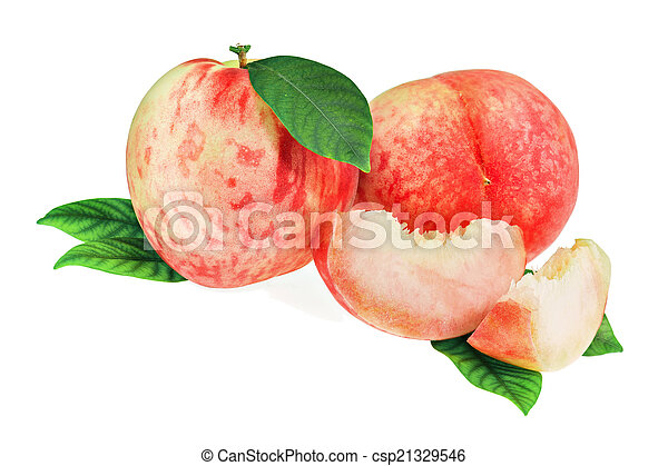 Fresh peach fruits with cut and green leaves isolated. - csp21329546
