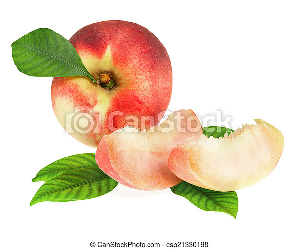 Fresh peach fruits with cut and green leaves isolated. - csp21330198