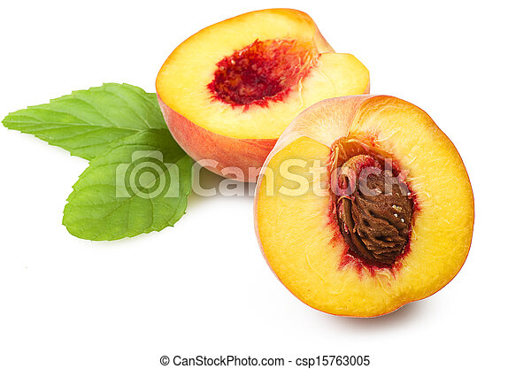 Fresh peach fruits with cut and green leaves on white background - csp15763005