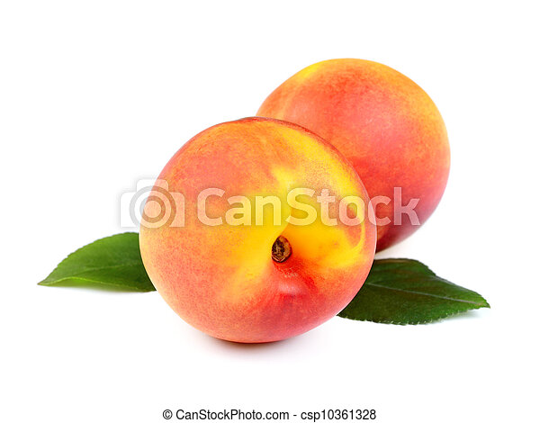 Fresh Peach Fruits with Green Leaves - csp10361328