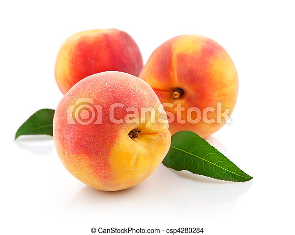 fresh peach fruits with green leaves - csp4280284
