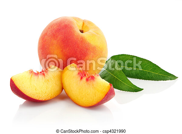 fresh peach fruits with green leaves - csp4321990