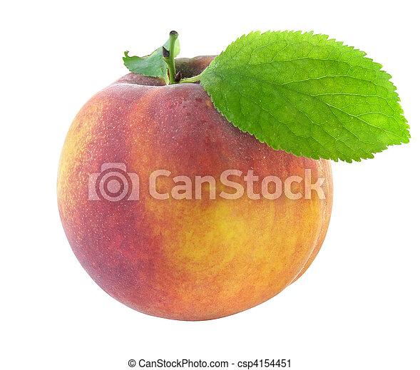 fresh peach with green leaf - csp4154451