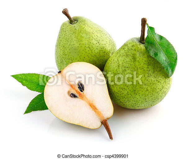fresh pear fruits with cut and green leaves - csp4399901