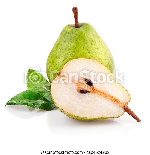 fresh pear fruits with cut and green leaf - csp4524202