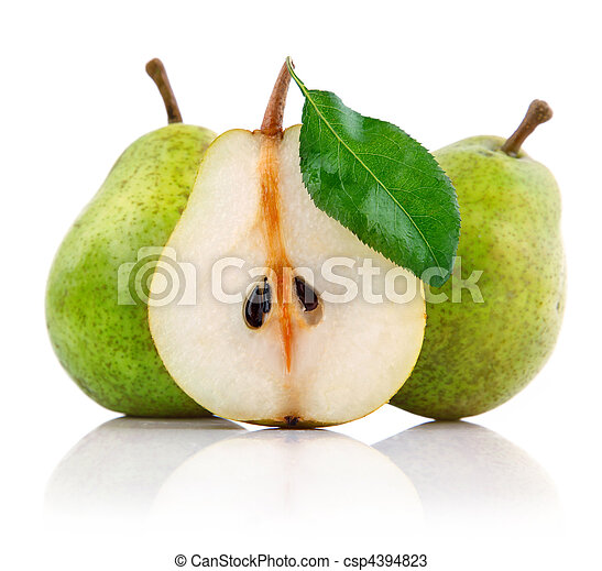 fresh pear fruits with cut and green leaves - csp4394823