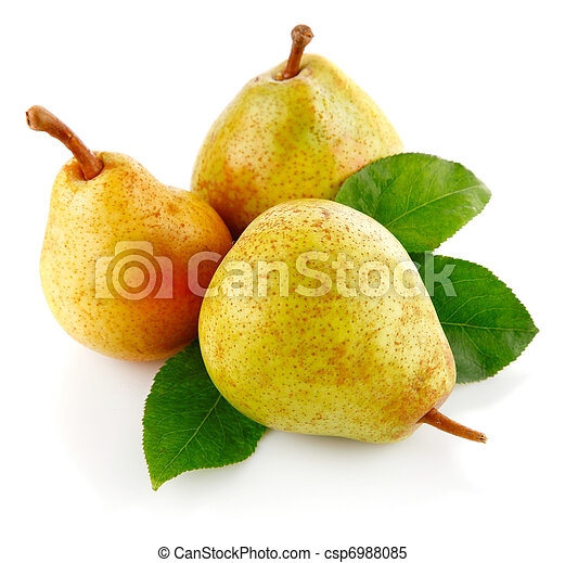 fresh pear fruits with green leaves - csp6988085
