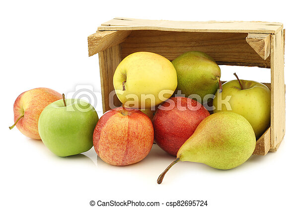 Fresh pears and apples in a wooden crate - csp82695724
