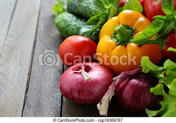 fresh peppers, onions and other vegetables - csp16369767