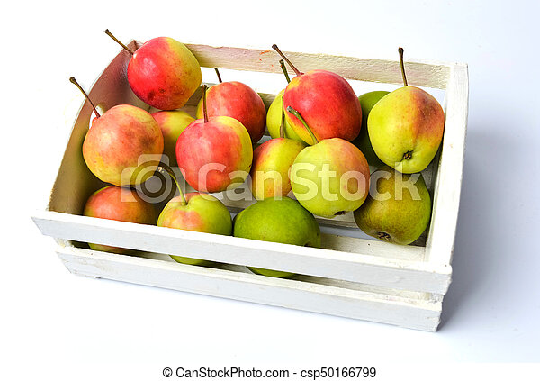Fresh picked apples in a wooden box - csp50166799