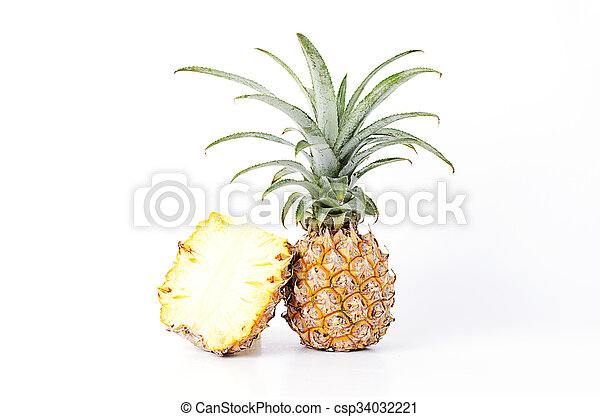 Fresh Pineapple fruits Isolated on white backgrounds - csp34032221
